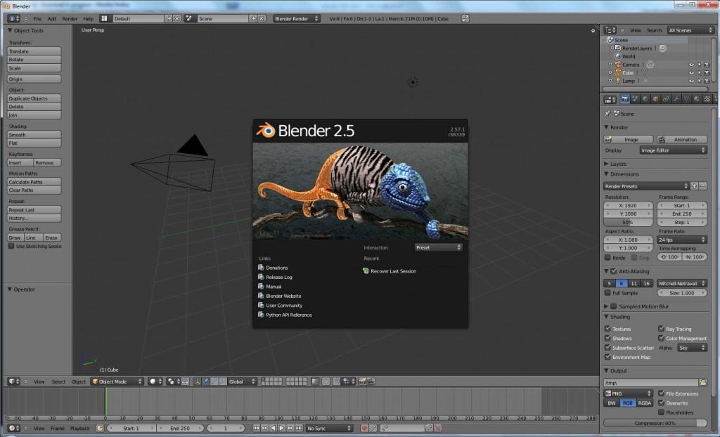 Der Startbildschirm von Blender 2.5