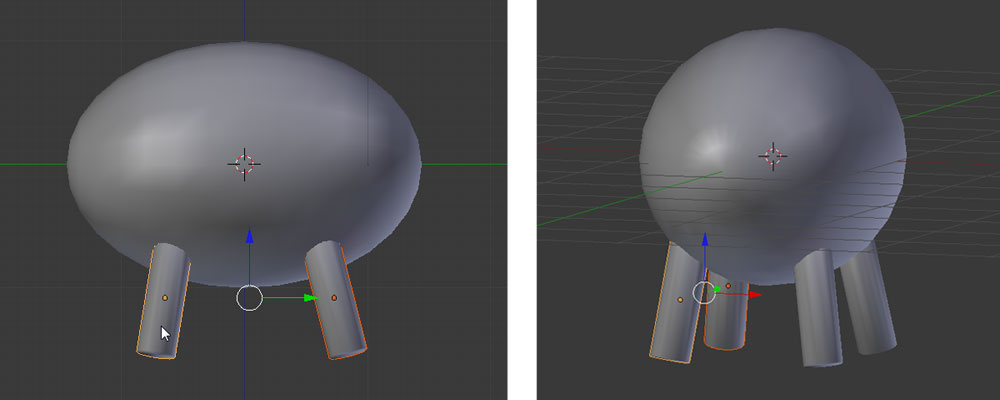 Das erste und zweite Bein zusammen duplizieren, auf die andere Seite schieben und ausrichten