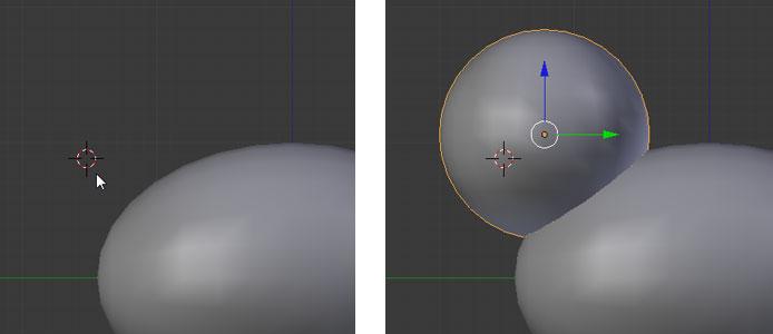 3D-Cursor setzen, UV Sphere einfügen, ausrichten und glätten
