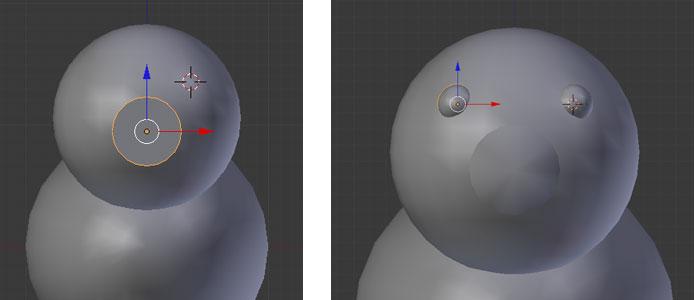 3D-Cursor platzieren, Uv Sphere einfügen, skalieren und glätten / Zweites Auge durch Duplizieren
