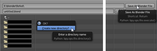 Create new Directory / Save as Blender File
