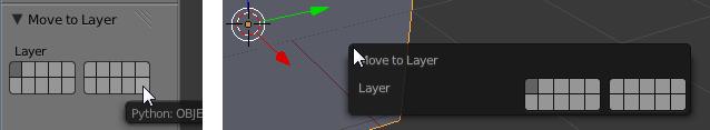 Die Layer Auswahl im Tool Shelf und am Mauszeiger