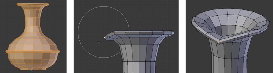 Den Ausgießer formen mit Proportional Editing