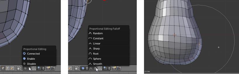 Proportional Editing aktivieren, Proportional Editing Falloff einstellen und das Mesh mit dem PET verformen