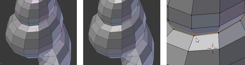 Zwei Loops einfügen um die Einkerbung zu schärfen