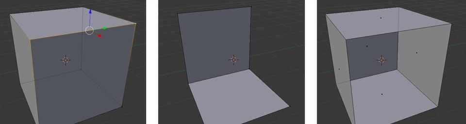 Zwei Vertices aktiviert (links) und mit Hide ausgeblendet (Mitte). Eine einzelne Fläche versteckt
