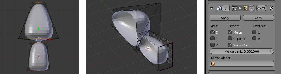 Eine Hälfte des Objektes löschen und den Mirror Modifier anhängen