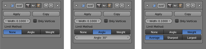 Die Limit Method Einstellungen None, Angle und Weight