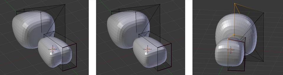 Auswirkung der Änderung der Modifier-Reihenfolge | rechts: Korrektur der Objektform