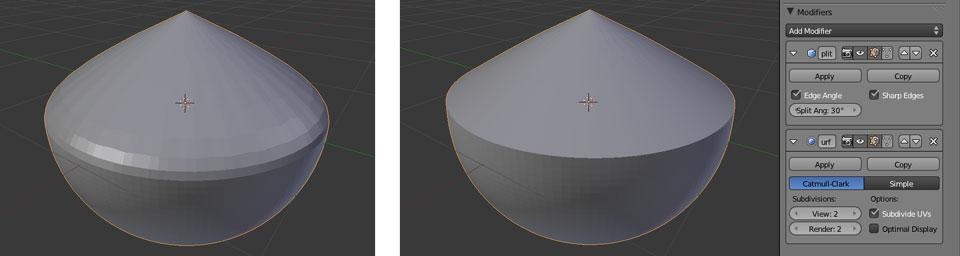Der Edge Split Modifier im Zusammenspiel mit dem Subsurf Modifier