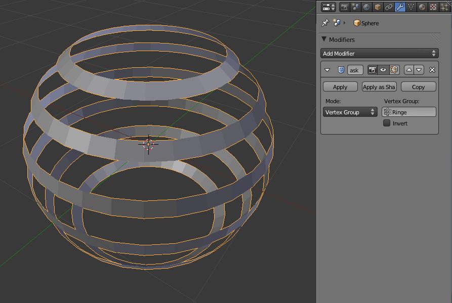 Die Auswirkungen des Mask Modifiers zu sehen im Object Mode