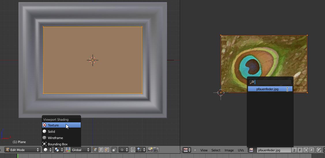 Im 3D View auf Textured umstellen und im UV / Image Editor das Bild auswählen